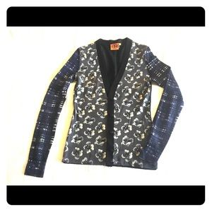 Tory Burch floral and plaid XS cardigan
